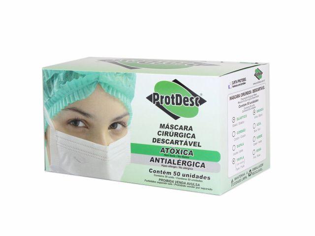 Máscara Descartável - Tripla - Com Elástico - 50un - ProtDesc