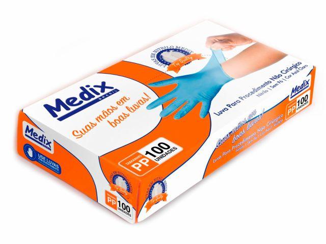 Luva Descartável - Nitrilo - Azul - Sem Pó - Texturizada - 100un - Medix Brasil