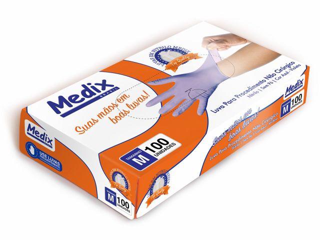 Luva Descartável - Nitrilo - Violeta - Sem Pó - Texturizada - Medix Brasil