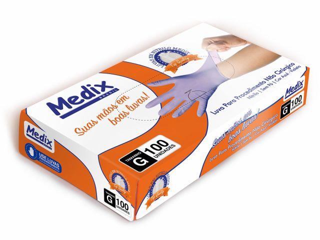 Luva Descartável - Nitrilo - Violeta - Sem Pó - Texturizada - 100un - Medix Brasil