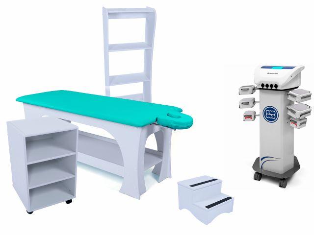 Kit Criolipólise Criodermis 6 Aplicadores Medical San + Linha Bella Completa (Base Branco/Estofamento Verde) - Arktus