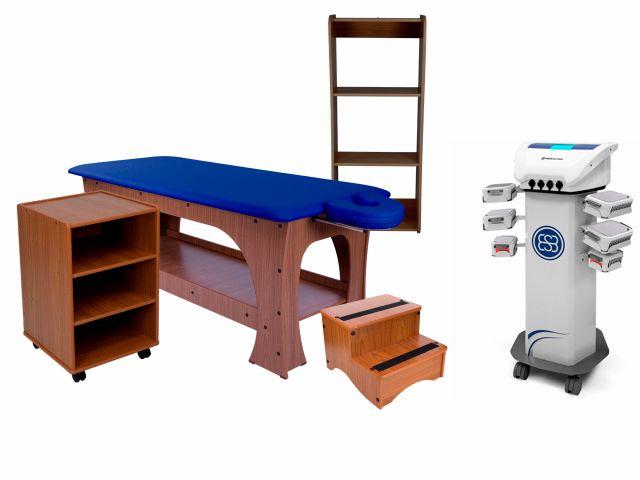 Kit Criolipólise Criodermis 6 Aplicadores Medical San + Linha Bella Completa (Base Marrom Escuro/Estofamento Azul Escuro) - Arktus