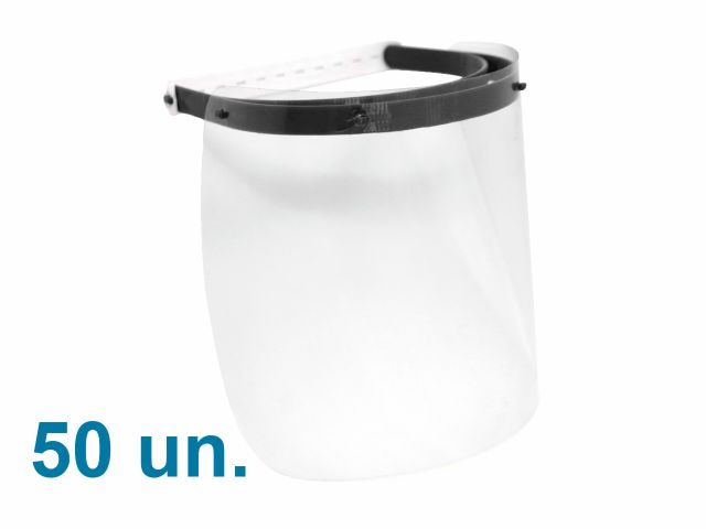 Máscara Protetora Facial - Kit com 50 un - Face Shield Reutilizável e Ajustável - Arktus