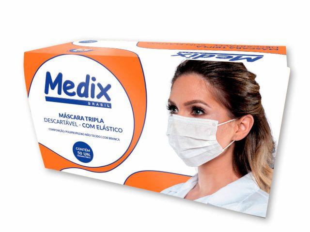 Máscara Descartável Tripla - com Elástico - 50un - Medix