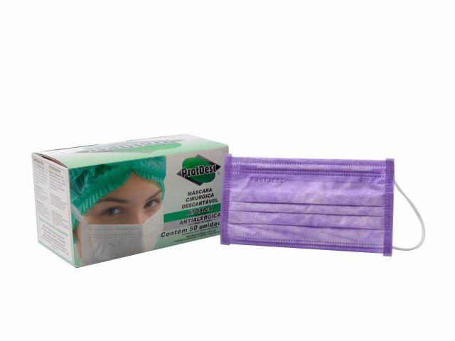 Máscara Cirúrgica Descartável - Tripla - com Elástico - 50un - ProtDesc