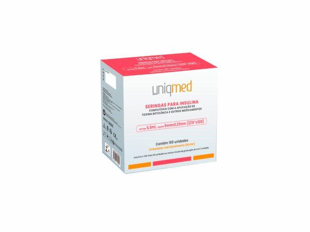 Seringa para Insulina e Toxina Botulínica – 0,5mL – 5x0,23mm – 32G – 100un - UniqMed