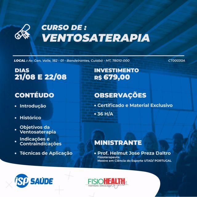 Curso de Ventosaterapia - de 21/08/2021 a 22/08/2021 - Cuiabá MT